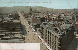 Looking up Market Street - Everything Destroyed by Earthquake April 18, 1906 Postcard