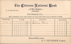Bank Deposit notice from The Citizens National Bank Postcard