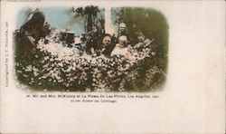 Mr and Mrs McKinley at La Fiesta De las Flores. 20,000 Roses on carriage. 1901 Postcard