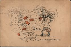 The day we dodged bricks. Globe man throwing bricks at man. Buildings collapsing. Postcard