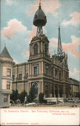 St. Dominic's Church after the earthquake April 18, 1906 Postcard