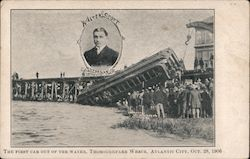 The First Car Out of the Water, Thoroughfare Wreck, Atlantic City, Oct. 28, 1906 Postcard