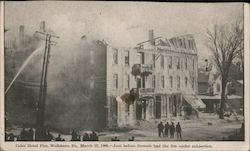 Coles Hotel Fire March 23, 1906 - Just Before Firemen has the Fire Under Subjection Postcard