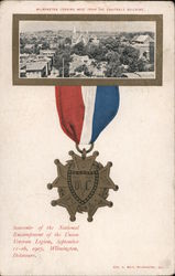 Wilmington looking west from the Equitable Building. Medal souvenir National Encampment Postcard