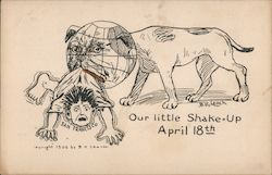Our Little Shake-up April 18th. Dog with globe head shaking man San Francisco. Postcard