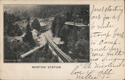 Montrio Station. Train on track, buildings Postcard