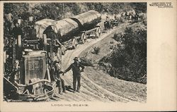 Greetings from Watsonville. Logging Scene. Postcard