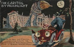 The Capital by moonlight. Poem of man viewing bowing capitol building. Postcard