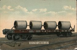 Does the camera lie? Erie 8704 Train car with four spools of thread. Postcard
