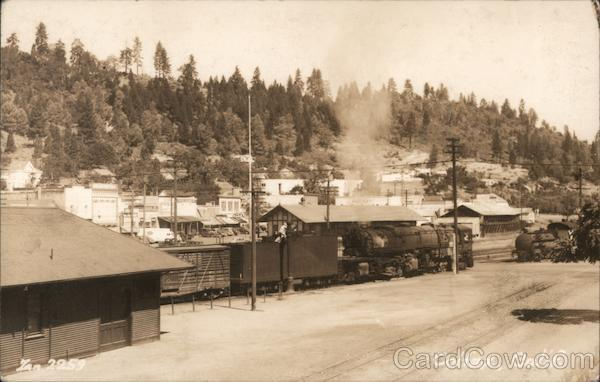 Steam locomotive and freight train in Colfax, CA California