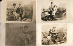 Lot of 4: Cliff House Studio, People in Cars Postcard