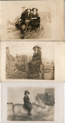 Lot of 3: Studio Photos, People on Donkeys with Cliff House Postcard