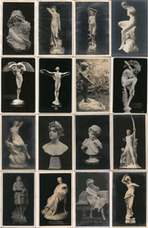 Lot of 16: PPIE Sculptures and Statues #1 Postcard