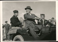 Rare Photo: Franklin D. Roosevelt General Eisenhower in a Jeep Original Photograph