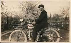 Man on Indian motorcycle Original Photograph
