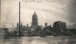 City Hall from Market & 10th - Earthquake and Fire Original Photograph