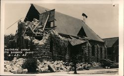 Earthquake damaged Unitarian Church 6-29-25 Postcard