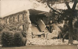 House damaged by earthquake in Santa Barbara, 1925 Postcard
