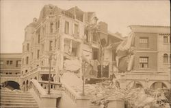 Earthquake damage staircases, large apartment building Postcard