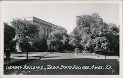 Iowa State College Library building Postcard