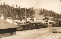 Steam locomotive and freight train in Colfax, CA Postcard