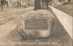 Boulder plaque. Here under the oaks July 6th, 1854 was born the Republican Party Postcard