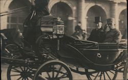 President Wilson in horse drawn carriage, WWI Postcard
