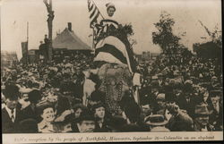 Taft's reception by the people, Columbia on an elephant, Sept 26 Postcard