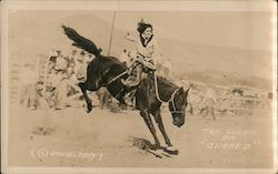 "Rodeo, Tab Lucas on ""Juarez"" bucking bronc Cowgirl Postcard"