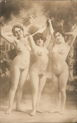 Three Fully Nude Women Postcard