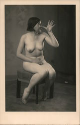 Nude Woman Thumbing Her Nose Postcard