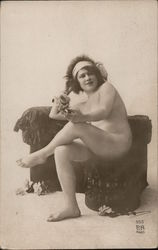 Nude in a Head Scarf - French #555 Postcard