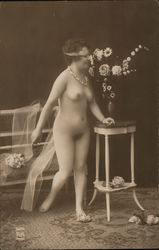Woman with Flowers - French Nude #504 Postcard