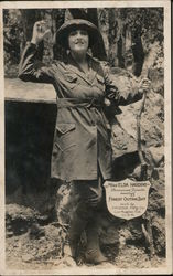 Miss Elsa Harding, Forest outing suit by Myers Mfg. Co Postcard