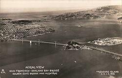 Aerial Vies San Francisco-Oakland Bay Bridge Golden Gate Bridge and Alcatraz Treasure Island Postcard