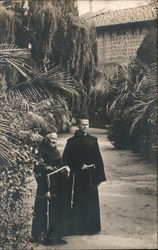 Two Monks at a Mission Postcard