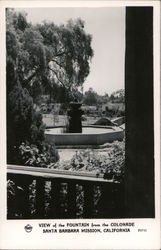 View of the Fountain from the Colonade, Santa Barbara Mission Postcard