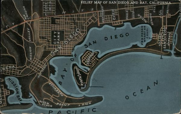 Relief Map of San Diego and Bay, California