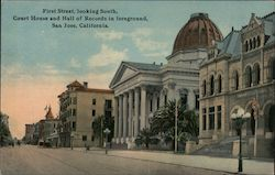First Street, looking South - Court House and Hall of Records in Foreground Postcard