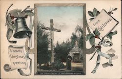 The Garden Crucifix at Santa Barbara Mission A Hearty Christmas Greeting From California Postcard