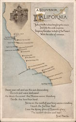 A Souvenir of California - Map of Missions Postcard