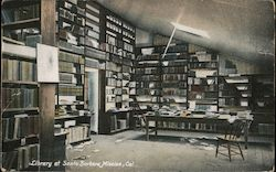 Library at Santa Barbara Mission Postcard