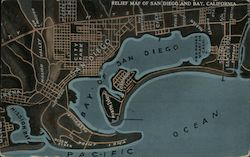 Relief Map of San Diego and Bay, California Postcard