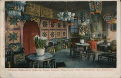 Chinese Restaurant (interior view), Dupont Street, near Clay, Chinatown, San Francisco Postcard