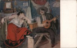 """The Native Song"" by Jose Malhoa, Portugal, Department of Fine Arts - PPIE Postcard"