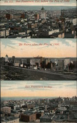 San Francisco Before the Fire, Ruins of 1906, and Today Postcard