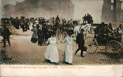 Fleeing From The Burning City April 18, 1906 Postcard