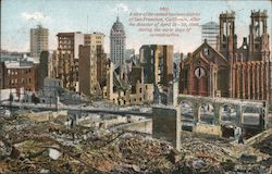 A view of the ruined business district of San Francisco, California, after the disaster Postcard