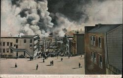 Looking down Montgomery St. showing the wholesale district burning 5:30 PM April 18th 1906 Postcard