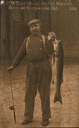 A 2.7 lb. Bass caught in the Russian River at Guernevills, Cal. Postcard